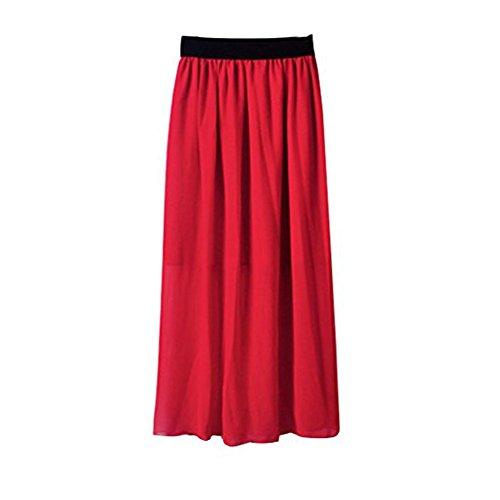 Jupe Haute Mesdames YouPue Taille Taille Unique Casual Jupe Jupe Longue Plisse vase Rouge Bohmienne wUETxf1Tq