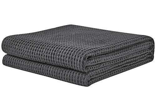 PHF Cotton Waffle Weave Bed Blanket Lightweight and Breathable Bed Home Decor King Size Charcoal