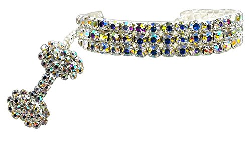 PetFavorites Fancy 3 Rows Rhinestones Dog Necklace Collar Jewelry with Bling Crystal Bone Charm for Pets Cats Small Dogs Girl Teacup Chihuahua Yorkie Clothes Costume Outfits (Clear, 8 to 10-Inch)