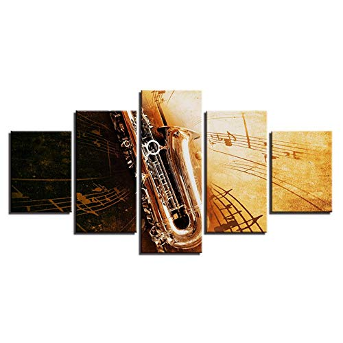 OUPDJ 5 Canvas Paintings Artwork Canvas Painting HD Prints Home Decor 5 Pieces Musical Instruments Wall Art Horn Modular…