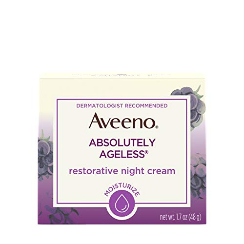 Aveeno Absolutely Ageless Restorative Night Cream Facial Moisturizer with Antioxidant-Rich Blackberry Complex, Vitamin C & E, Hypoallergenic, Non-Greasy & Non-Comedogenic, 1.7 fl. ()