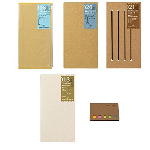 Midori Travelers Notebook   Regular Size   Refill Set   Value Set   Lightweight Paper   Connection Rubber Band   Clear Zipper Case   Craft File   Original Sticky Notes