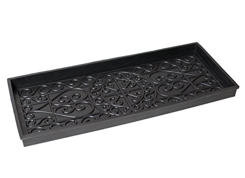 BirdRock Home Rubber Boot Tray - 34 inch Decorative Boot Tray - Waterproof for All Weather Indoor or Outdoor Use - Dog Bowl Tray (Best Dry Iron Box In India)