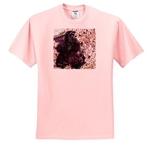 3dRose Dogs Cocker Spaniel - Black Cocker Spaniel - T-Shirts - Adult Light-Pink-T-Shirt Large (ts_801_36) ()