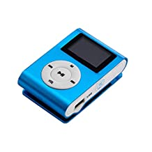 Tonsee Blue Mini MP3 Player Clip USB FM Radio LCD Screen Support for 32GB Micro SD
