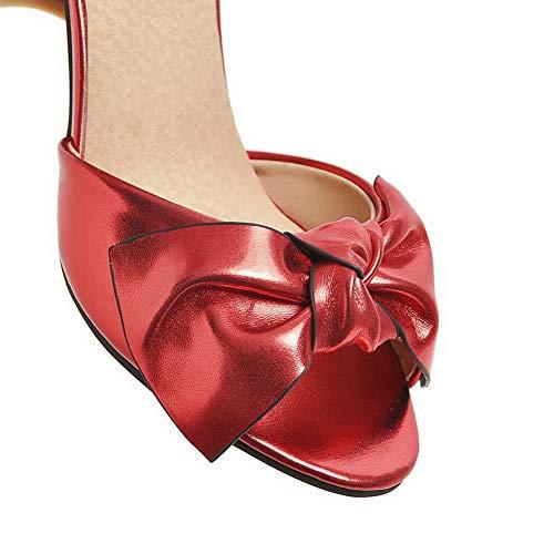 Rouge Talon Couleur Sandales Correct Ouverture À Aalardom Unie Femme Boucle D'orteil Tsflh006098 BfwxqaOPA