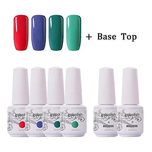 Clou Beaute Soak Off UV Led Nail Gel Polish Kit Varnish Nail Art Manicure Salon Collection Set of 4 Colors with 1 Top Coat and 1 Base Coat 8ml 032