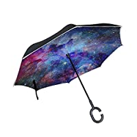 My Daily Double Layer Inverted Umbrella Cars Reverse Umbrella Colorful Galaxy Star And Nebula Universe Windproof UV Proof Travel Outdoor Umbrella