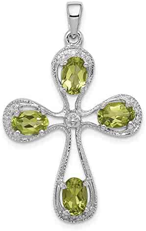 0.01cttw 34mm x 20mm Mia Diamonds 925 Sterling Silver Solid Rhodium Peridot and Diamond Cross Pendant
