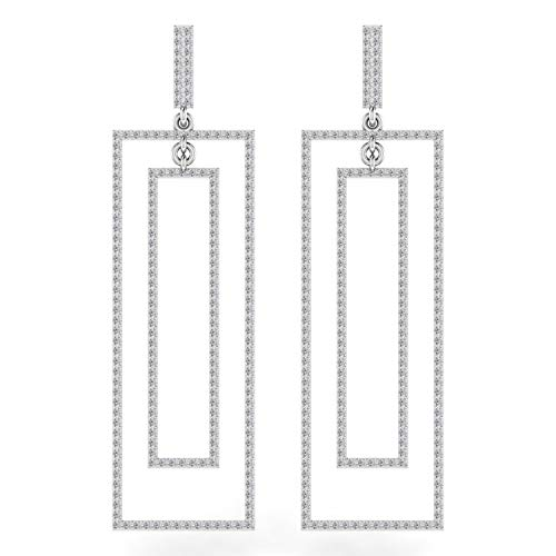 ASHNE JEWELS IGI Certified 1.5 Carat Round-Shape Natural Diamond (G-H Color, I1-I2 Clarity) 14K White Gold Drop and Dangle Earrings For Women