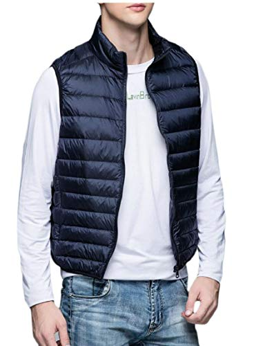 TTYLLMAO Men's Ultralight Waistcoat Jacket Coat Packable Puffer Down Vest Navy Blue