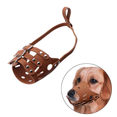 (YAODHAOD Dog Muzzle Adjustable Dog Muzzle, Anti Bite Bark Allow Drink, Leather Mesh Design, Well Ventilation (L, Brown))