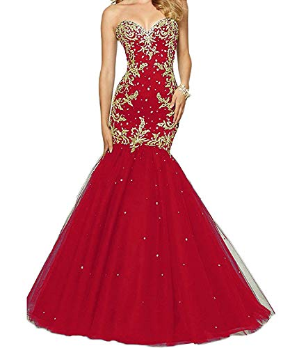 chenxuanamam Gold Applique Mermaid Tulle Prom Gown Beads Sweetheart Lace-up Trumpet Evening Dress Red US6