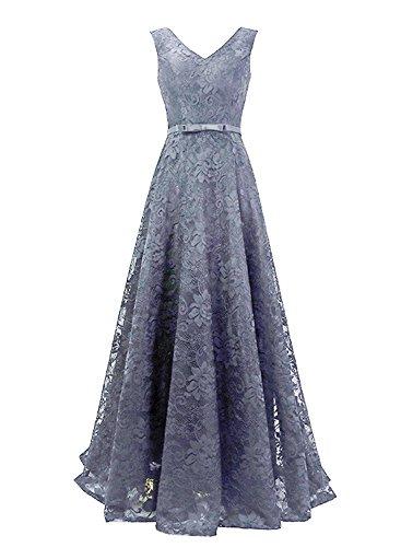 Ausschnitt Damen Spitze LuckyShe Grau V Lang Hochzeit Ballkleid für Linie Abiballkleider A Elegant 2018 xqtwrwdB0