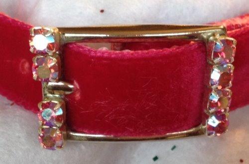 Indian Pink Aurora & Vibrant Fuchsia Crystal Rhinestone Velvet Dog Cat Pet Collar (1XLarge)