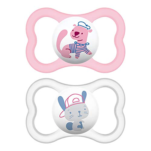 MAM Sensitive Skin Pacifiers, Baby Pacifier 6+ Months, Best Pacifier for Breastfed Babies, 'Air' Design Collection, Girl, 2-Count (Mam Pacifier Girl Night)