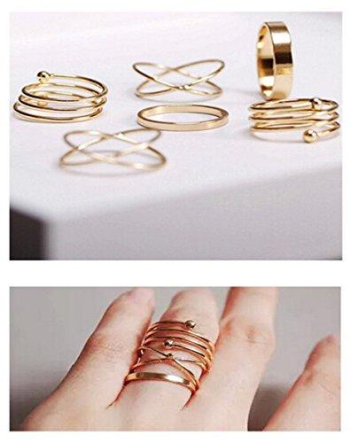 Fashion anillos para dedo / Fashion Midi-Anillo moderno y elegante / Múltiples anillos para apilar / Chapado en oro de DesiDo®