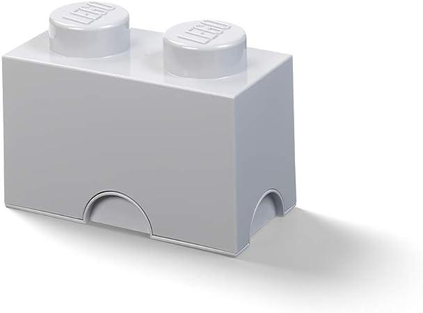 LEGO Ladrillo de Almacenamiento de 2 espigas, Caja de almacenaje apilable, 2,6 l, Gris, One Size: Amazon.es: Hogar