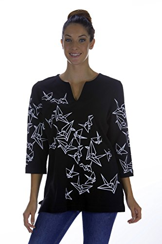mmacs-origami-cranes-slot-neck-tunic-in-black-with-white-print-l