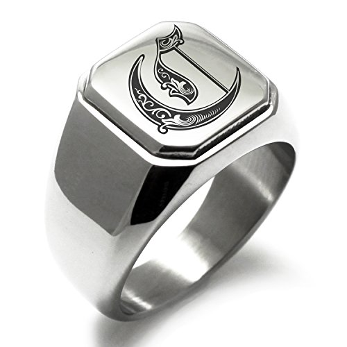 Stainless Steel Letter C Alphabet Initial Royal Monogram Engraved Square Flat Top Biker Style Polished Ring, Size (Initials Stainless Steel Ring)