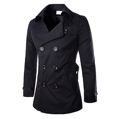 (MICHAELAN01 Mens Trench Coat Double Breasted Raincoat Belted Winter Trench Windbreaker (Black US L=Tag XXL))