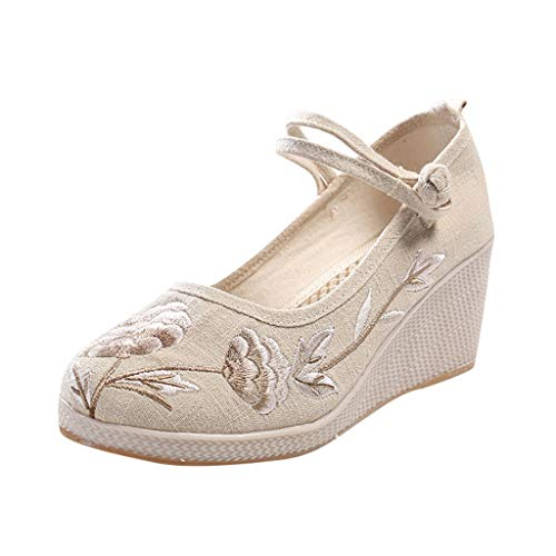 2019 Womens Chinese Classical Wedges Sandals,Girls Retro Embroidered Handmade Beijing Cloth Summer Wind Buckle Shoes (Beige, US:7)