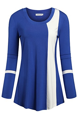 Helloacc Womans Long Sleeves Round Neck Color Block Loose Fit Dressy Tops,Royal blue,XX-Large