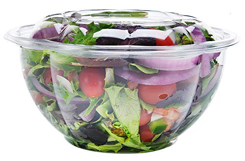 (DOBI Salad to-Go Containers, 32oz, (50 Pack) - Clear Plastic Disposable Salad Bowls with Lids, Standard Size)