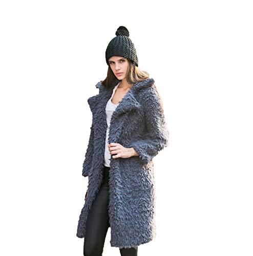 Curly Lamb Faux Long Furry Fake 2018 Warm Fluffy Jackets Streetwear Cardigan,Gray,S