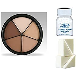 Mehron Tattoo Cover Make-Up Set incl. Wheel, Setting Powder 8gm,Barrier Spray 60ml and Sponge by stage door