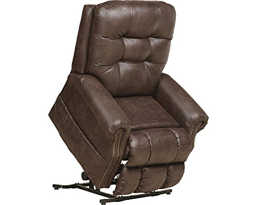 (Catnapper Ramsey 4857 Power Full Lay Out Lift Chair Recliner with Heat and Massage - Easy Care Faux Leather Vinyl - Sable)