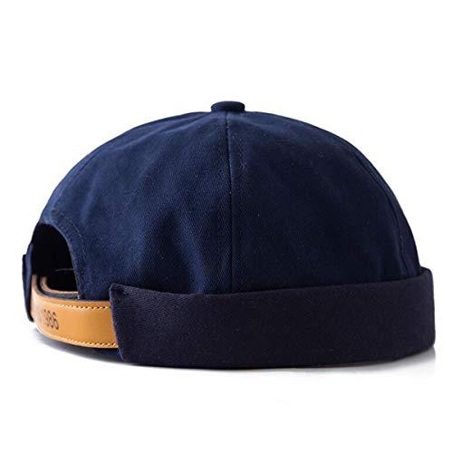 Generic Men Unisex Street Casual Docker Sailor Biker Hat Loop Beanie Brimless Cap (Navy Blue) ()