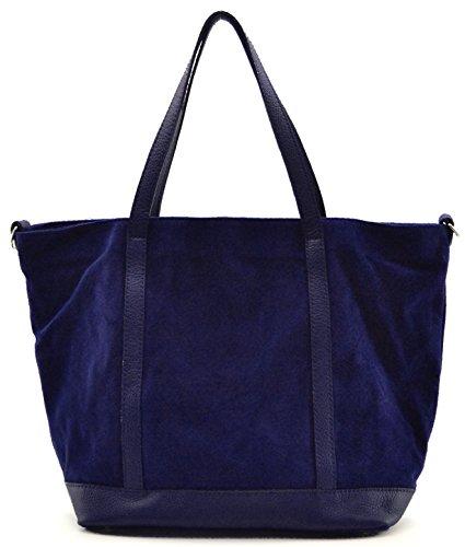 Bolso de mano de nobuck - Modelo IRUPU - llevado al hombro - 46 x 32 x 18 cm azul oscuro