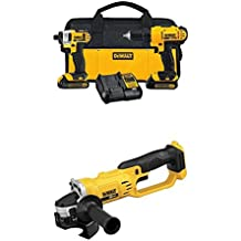 "DEWALT DCK240C2 20v Lithium Drill Driver/Impact Combo Kit with 20V MAX Lithium Ion 4-1/2"" grinder"