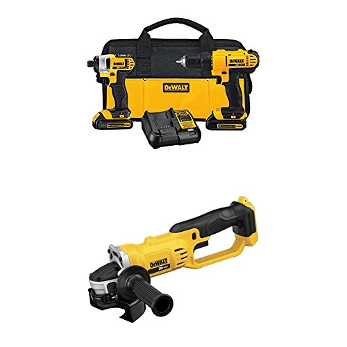 "DEWALT DCK240C2 20v Lithium Drill Driver/Impact Combo Kit with 20V MAX Lithium Ion 4-1/2"" grinder by DEWALT"