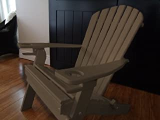 product image for Poly Recycled Plastic Adirondack Chair with One Cupholder- Weatherwood