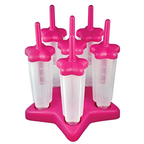 (Tovolo Star Ice Pop Mold Popsicle Maker, Drip-Guard, Sturdy Base, 4 Fluid Oz, Set of 6, Pink)