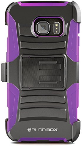 BUDDIBOX Galaxy S6 Edge Case, [HSeries] Heavy Duty Swivel Belt Clip Holster with Kickstand Maximal Protection Case for Samsung Galaxy S6 Edge, (Purple)