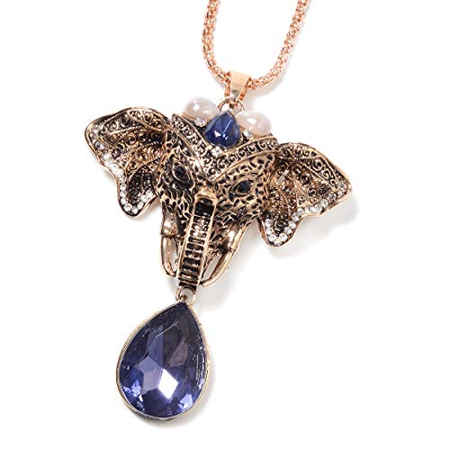 Shop LC Delivering Joy Blue Chroma Crystal Elephant Pendant Necklace 29