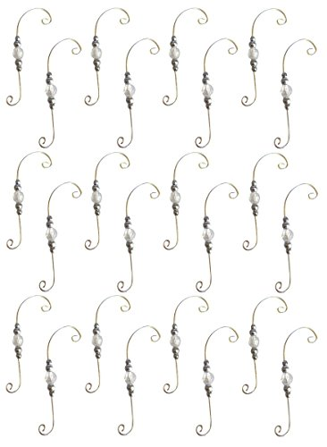 Charmed By Dragons Silver Swirl Beaded Ornament Decorative Holiday Hangers Set of 24 Hooks (24)