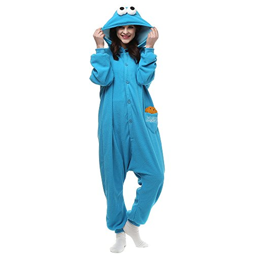 Cookie Monster Halloween Costume Female (Cookie Monster Adult Onesie. Animal Pajama Costume for Teenagers, Women, Men.)