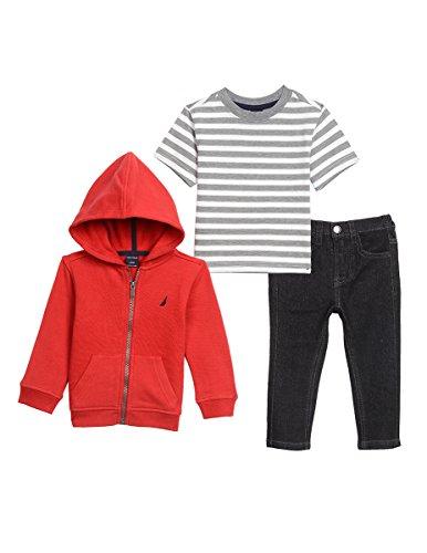 Fleece Pants Hoodie (Nautica Baby Boys' Fleece Hoodie, Short Sleeve Tee, and Denim Jean Set, Red Rouge, 18 Months)