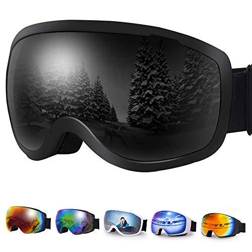Avoalre OTG Lunettes de Ski Femme Homme Masque de Ski Adulte UV 400 Protection Anti Buée Coupe-Vent Grande Lentille Adapté pour Lunettes
