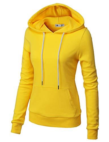 (H2H Women Long Sleeve Lightweight Casual Pullover Hoodie Sweatshirts with Kangaroo Pocket Yellow US M/Asia M (CWOHOL032))