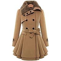 Minisoya Womens Double-breasted Parka Windbreaker Outwear Asymmetric Cloak Winter Ruched Coat Jacket