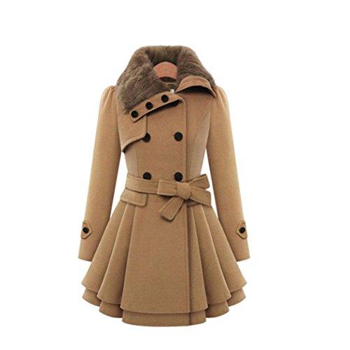 Minisoya Women's Double-Breasted Parka Windbreaker Outwear Asymmetric Cloak Winter Ruched Coat Jacket (Coffee, M)