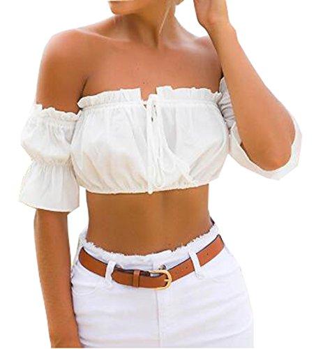 leveltech Women's Strapless Off Shoulder Ruffled Crop Top Blouse Tee T-Shirt (S, White)
