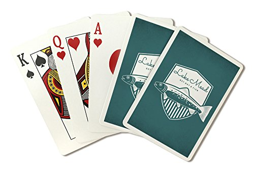 Lake Mead - Get Out and Fish - Trout - Badge (Playing Card Deck - 52 Card Poker Size with Jokers) by Lantern Press