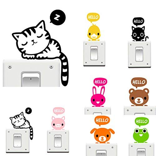 Bumatech Wall Art - Vinyl Removable Funny Cat Switch Stickers Black Art Decal Home Decor - Cute Girl Room Decor Wall Stickers Teen Boys Girls Animal Bedroom Switch - For - 1PCs