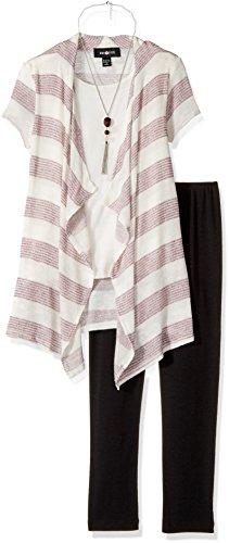 Metallic Stripe Pants - Amy Byer Big Girls' Stripe 2fer Cozy with Purse and Legging, Plum, M